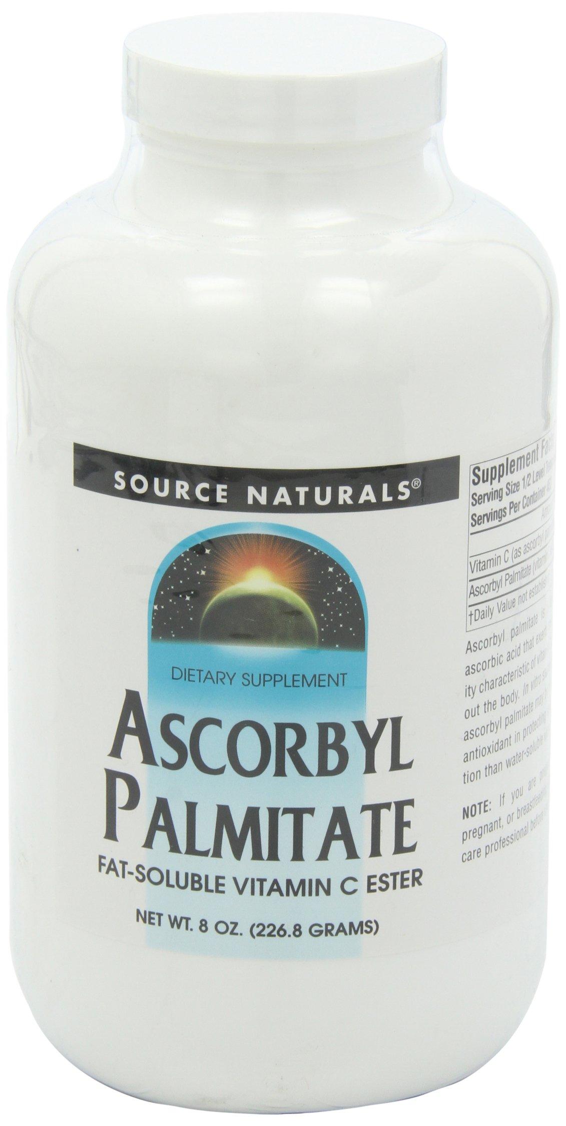 Source Naturals Ascorbyl Palmitate 500mg Powder - Fat-Soluble Vitamin C Ester Supplement - 8 Powder