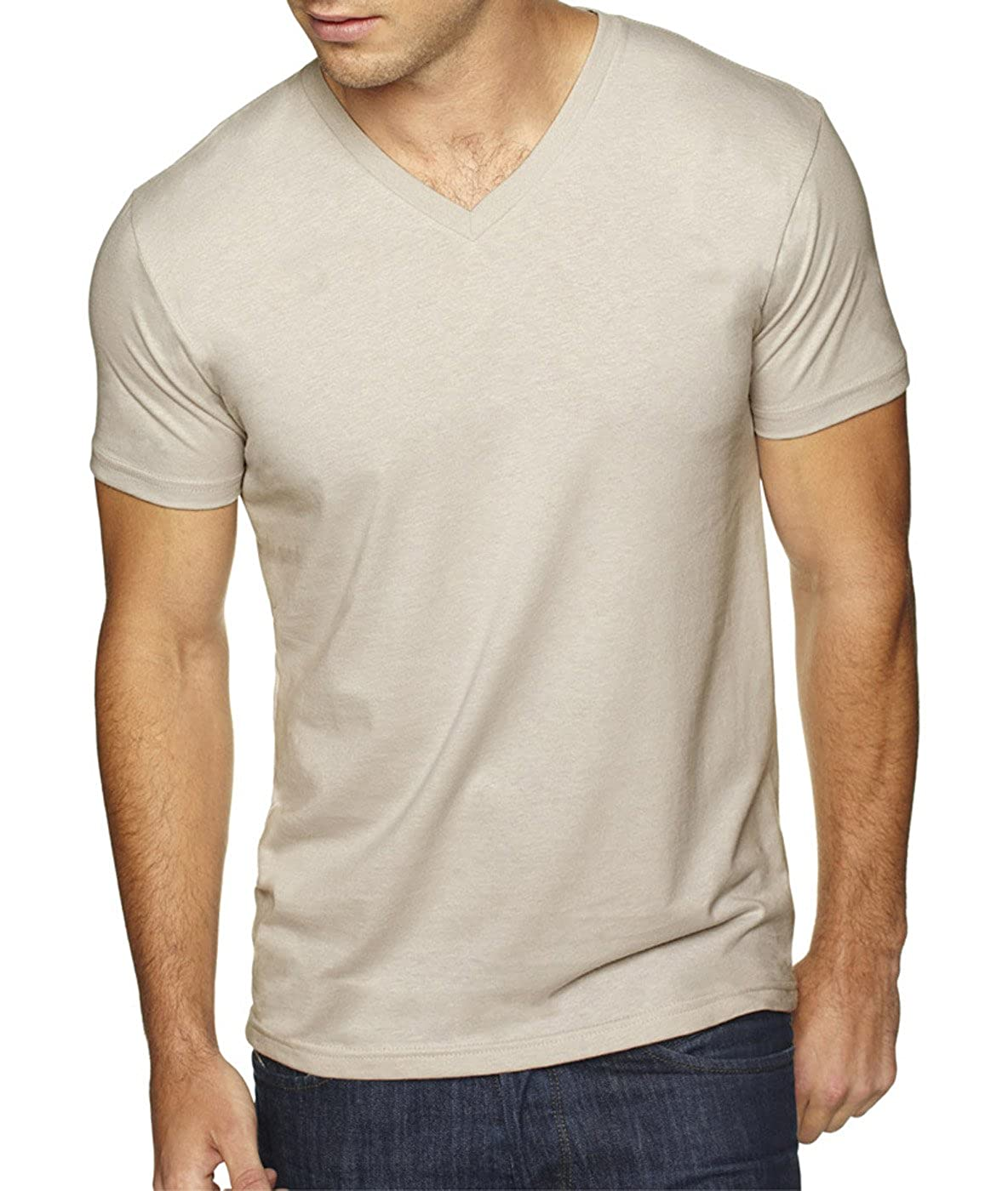 Sand - X-Large Cardinal Next Level Apparel 6440 Mens Premium Fitted Sueded V-Neck Tee -2 Pack 2 Shirts