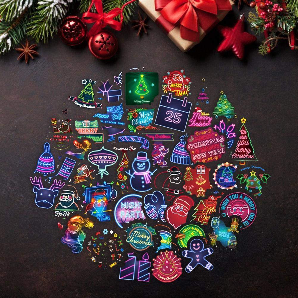 Koffer Autodekoration 50 St/ück mehrfarbige Weihnachtsbilder Bastelsticker f/ür Weihnachtsfeierzubeh/ör Rich-home Weihnachtsaufkleber