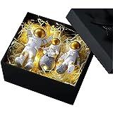 heyaa Estátua de astronauta da moda astronauta com escultura de lua em miniatura decorativa estátua de astronauta presentes p