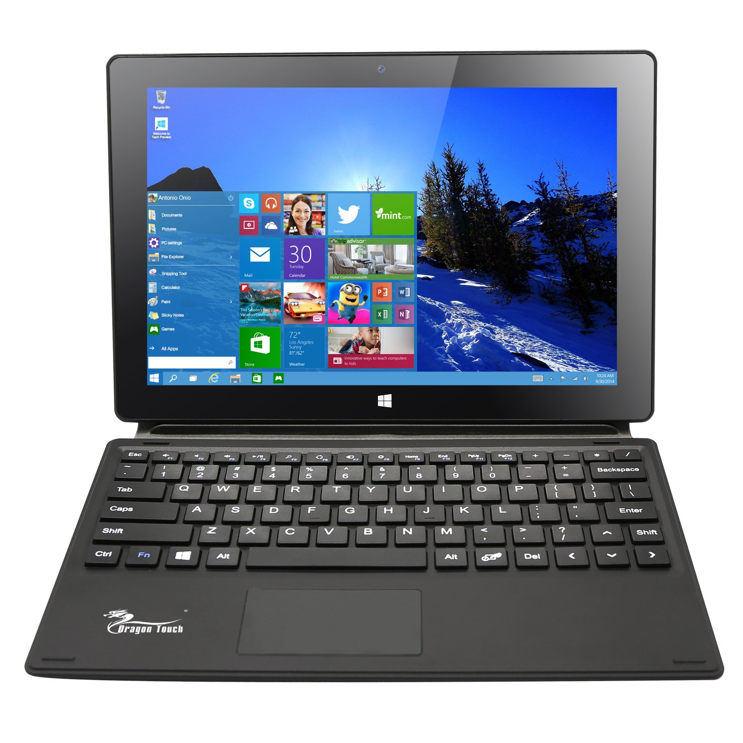 Dragon Touch i10X 10.1 inch 64 GB Windows 10 Tablet Intel Quad Core 2-in-1 Notebook IPS Screen with Detachable Keyboard