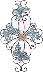 Adeco Flower and Butterfly Urban Design Metal Wall Decor for Nature Home Art Decoration & Kitchen Gifts - 26.5x15.5 Inches
