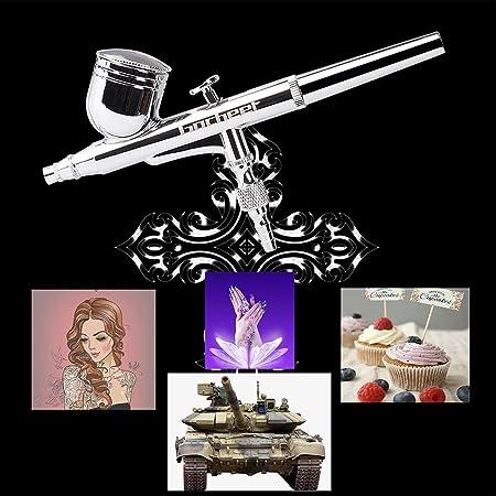 Gocheer - Pistola de aerógrafo portátil de doble acción, 100-250 V, con kit de limpieza y kit de compresor mini para pintura artística, tatuaje, manicura, ...