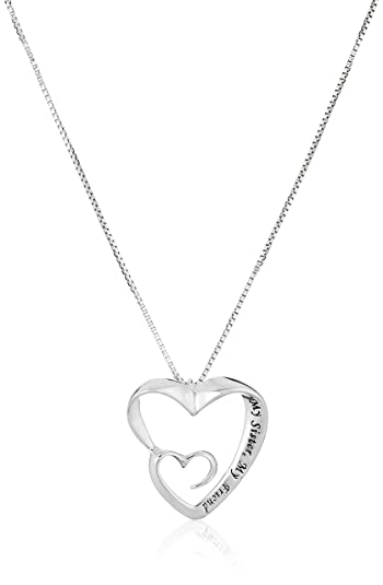 Amazon sterling silver my sister my friend double open sterling silver quotmy sister my friendquot double open heart pendant necklace aloadofball Images