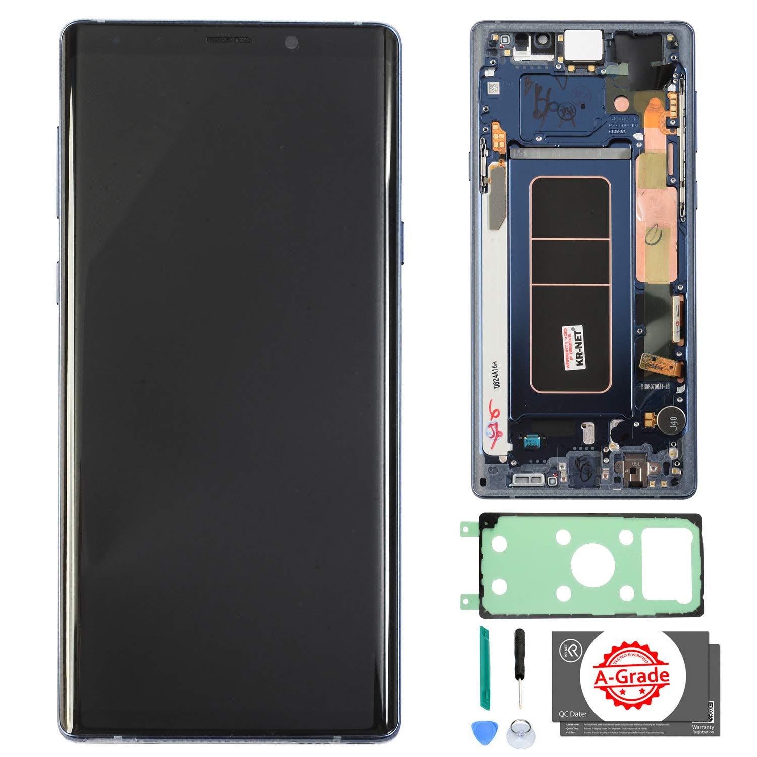 KR-NET [with Frame, Blue] AMOLED LCD Display Touch Screen Digitizer Replacement for Samsung Galaxy Note 9 N960U N960F, with Tools and Adhesive