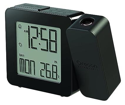 Oregon Scientific RM338P Reloj proyector con despertador y temperatura interior, alarma dual, pantlla LCD retroiluminada, Negro
