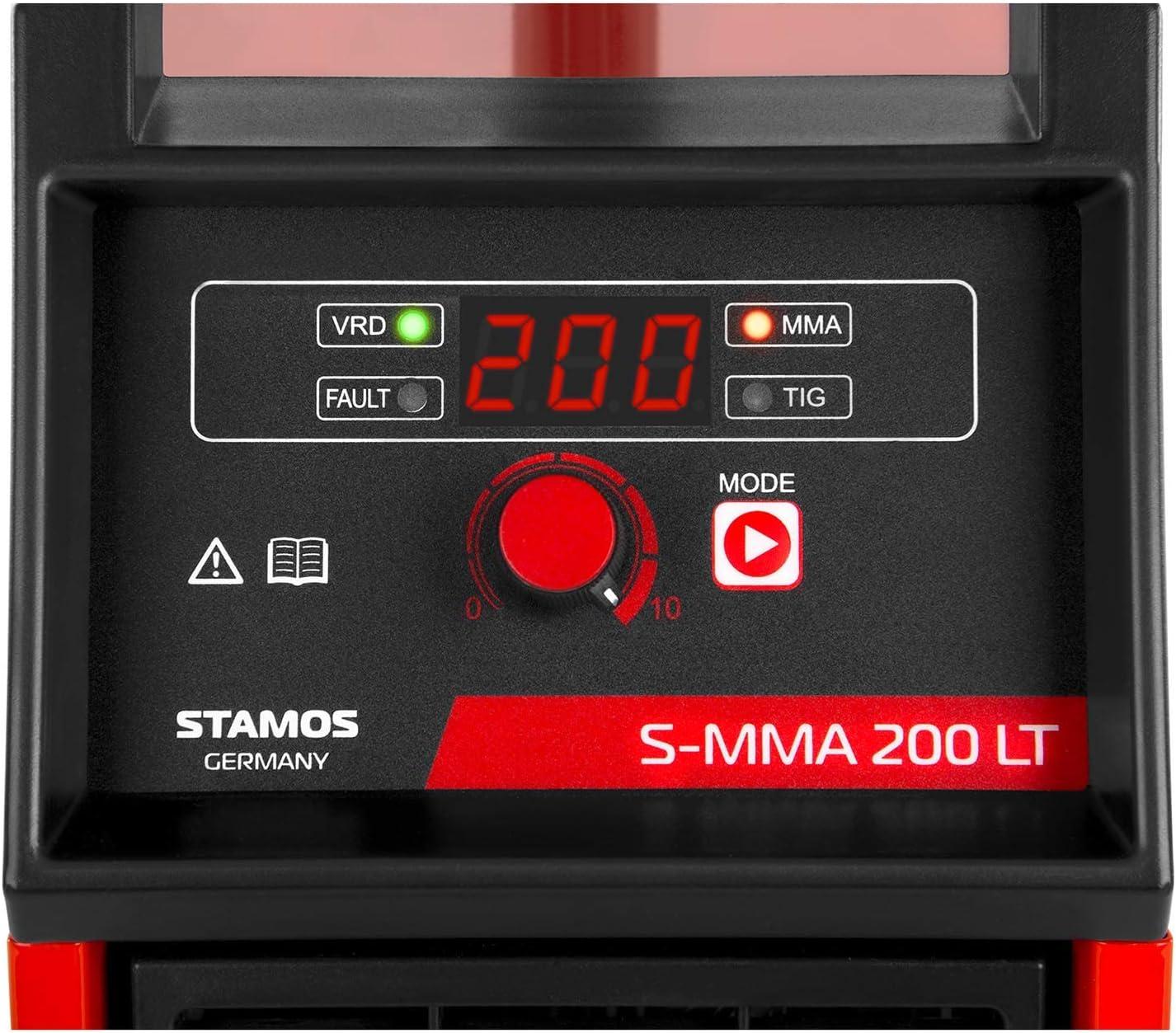 10-200 A, Hot Start, Amor/çage Par Contact, VRD Travail en Milieu Humide Stamos Welding Poste /À Souder Num/érique Soudage Arc TIG /Électrode MMA S-MMA 200 LT