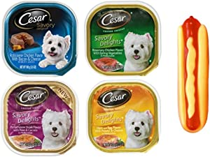 Cesar Savory Delights Dog Food 4 Flavor 8 Can with Toy Bundle, (2) Each: Porterhouse Steak, Ham Egg Potato Cheese, Rosemary Chicken, Rotisserie Chicken (3.5 Ounces)