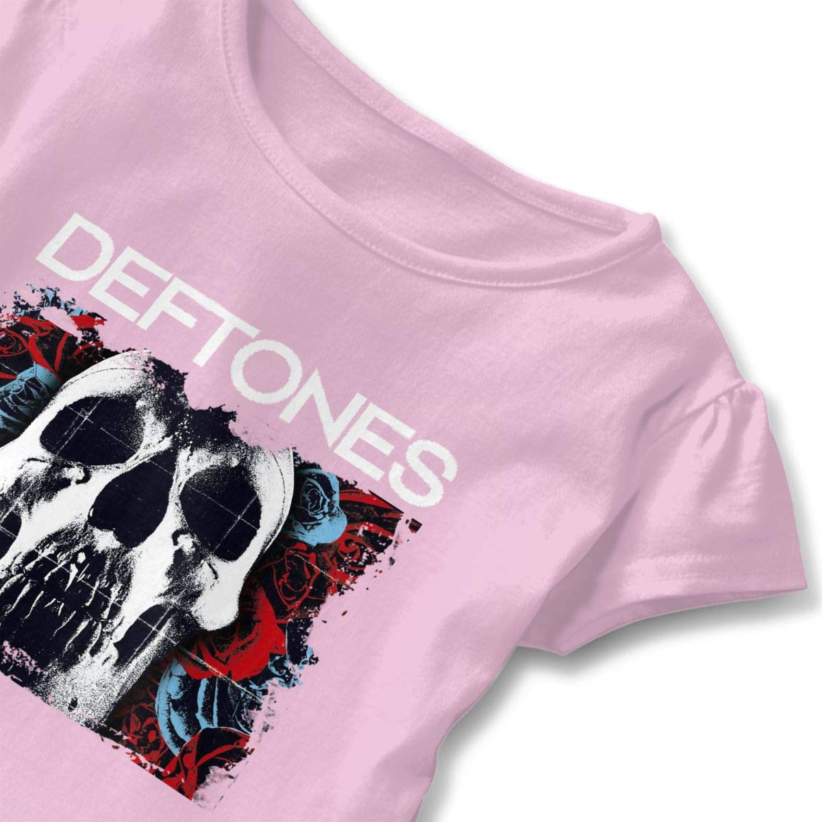 I Rock Out to Deftones with My Daddy Toddler Baby Girl Ruffle Short Sleeve T-Shirt Comfortable Cotton T Shirts