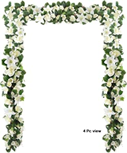 6 Feet Artificial Rose and Lily Garland, Artificial Silk Rose Lily Flower Ivy Vine Leaf Hanging Garland Wreath Garland for Home Wedding Wall Decor (White)