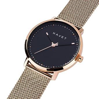 HAVET | Reloj de mujer Dyna de acero color oro rosa esfera negra y brazalete de malla: Amazon.es: Relojes