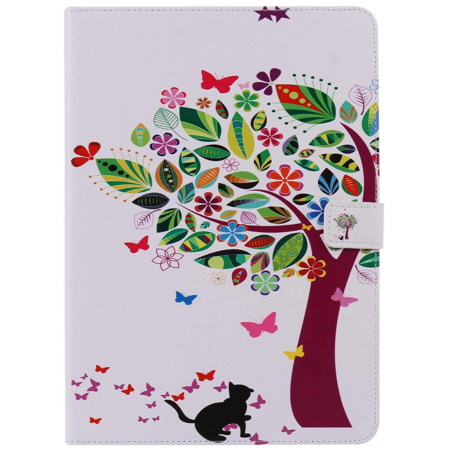 Bear Village iPad Pro 9.7 Inch Case, Anti Scratch Shell with Adjust Stand, Colorful Design Leather Stand Case for Apple iPad Pro 9.7 Inch, Tree Cat by Bear Village