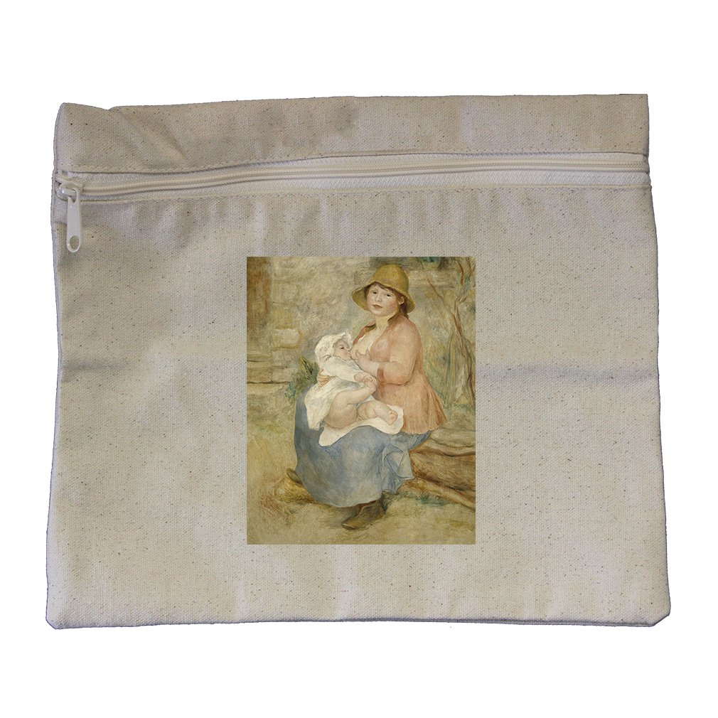 Mother And Child 2 (Renoir) Canvas Zippered Pouch Makeup Bag