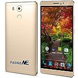 PADGENE® Unlocked 3G Smartphone, 6 inch IPS Screen(1280*720) Android 5.1 Mobile Phone---MTK6580 4 Core 1.3GHz,1GB RAM 8GB ROM, Dual Sim(Dual Standby), Dual Camera(2.0M/5.0M),WIFI GPS G-Sensor SIM-Free 2G/3G Smartphone Phablet 4800mAh Battery (Gold)