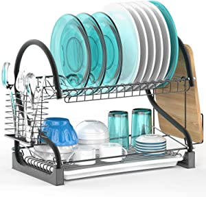 Dish Drying Rack, Veckle 2 Tier Dish Rack with Removable Drain Board Dish Drainer Utensil Holder, Cutting Board Holder for Kitchen Countertop, Black