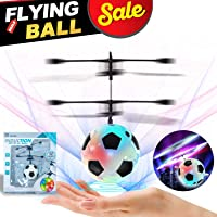 RC Flying Ball Football Helicopter Ball with Rechargeable Light Up Ball Drone Infrared Induction Helicopter with Remote Controller for Indoor and Outdoor Games Electronic Toy Gift for Kids Boys Girls