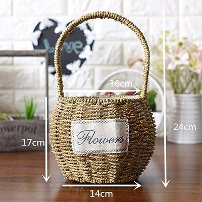 EXDJ Hand Baskets Wicker Rattan Flower Basket Pure Hand Woven Basket : Garden & Outdoor