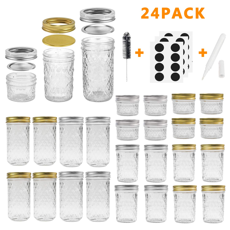 Mason Jars Canning Jars, 24 Pack Jelly Jars With Regular Lids, Ideal for Jam, Honey, Wedding Favors, Shower Favors, Baby Foods, DIY Magnetic Spice Jars - 4 OZ x 8, 8 OZ x 8, 12 OZ x 8 (4oz -8oz-12oz)