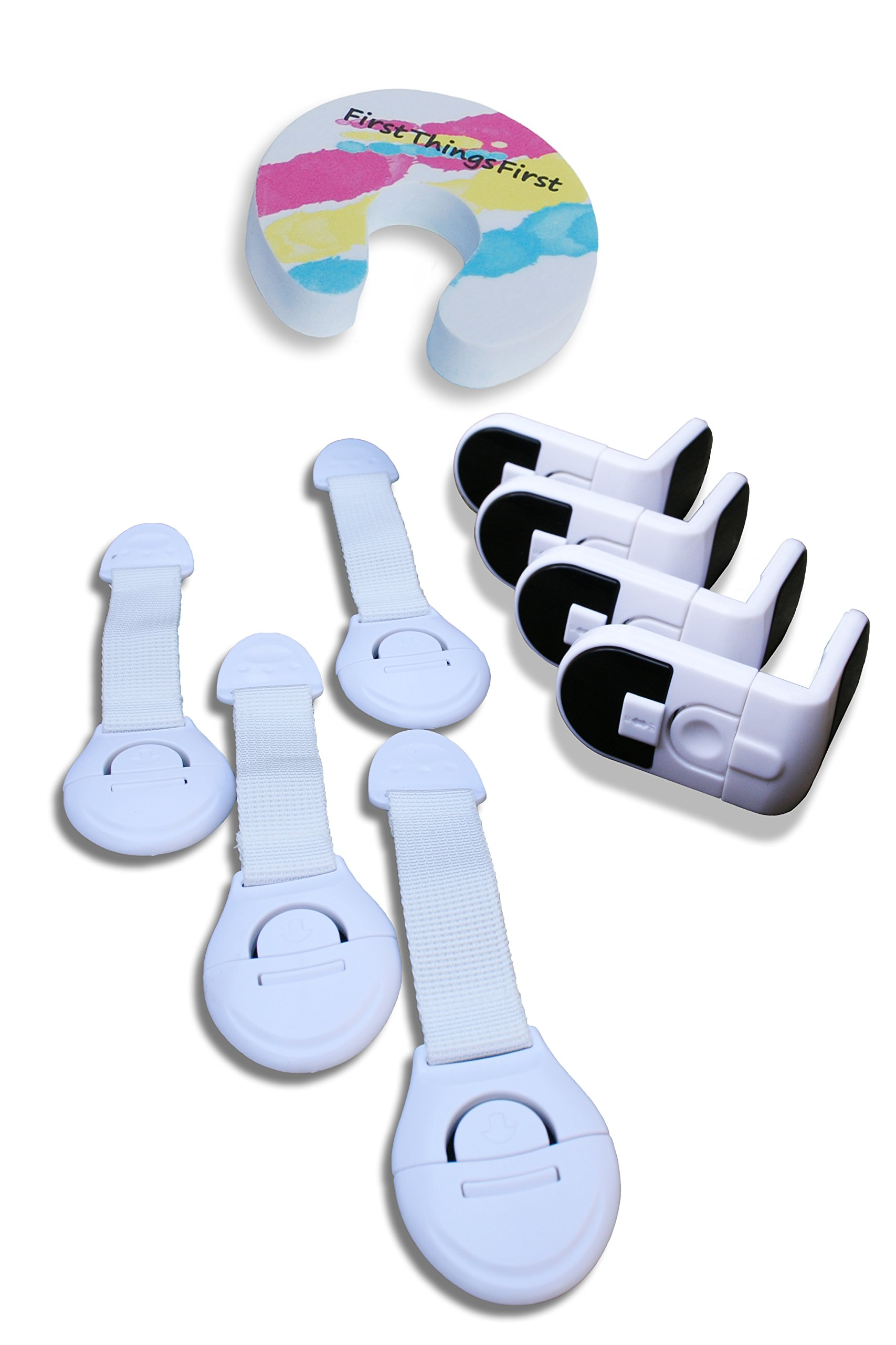 CHILD SAFETY CABINET LOCKS - Baby Cabinet Safety Latches, Baby Proof Door Guard Door Monkey, Baby Proofing Fridge & Drawer Locks, Toilet Locks for Toddlers | A Complete Child Proofing Baby Safety Kit