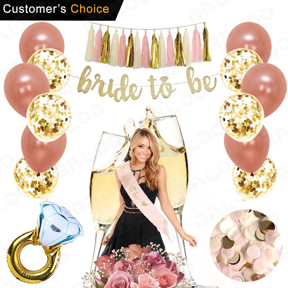 Rose Gold Bridal Shower Decorations 31PCS bachelorette gifts Bride To Be Banner,Sash,Tassel,12inch Rose Gold Confetti balloons bachelorette party supplies (Bride to be GOLD GLITTER BANNER) by BALOO