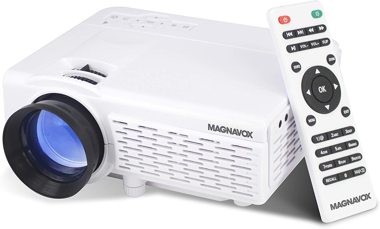 Magnavox MP601 Portable Home Theater Projector with Bluetooth Wireless Technology and Remote in White | Supports 1080p HD Quality | HDMI, USB, AV, & VGA Ports |