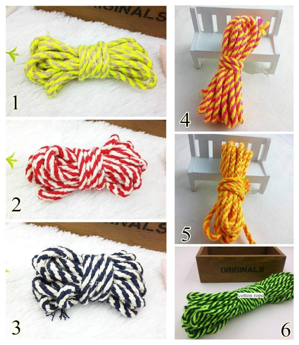 Cotton Rope 6 Colors 0.2'' Cotton Rope Braided 5Mm X50Yard Mix-Color Diy Accessory Drawstring Cord Lacing Cord by Mehtah Store