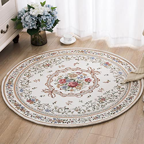 Ukeler Royal Collection New Traditional Oriental Round Rug Home Decor Collection Floral Rugs Carpet for Bedroom, 5.3 x5.3