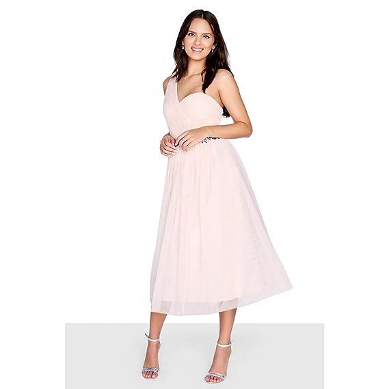 Little Mistress Womens/Ladies One Shoulder Mesh Prom Dress (10 UK) (Nude