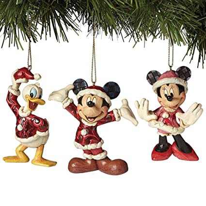 jim shore disney traditions mickey minnie and donald christmas ornaments set - Mickey And Minnie Christmas Decorations