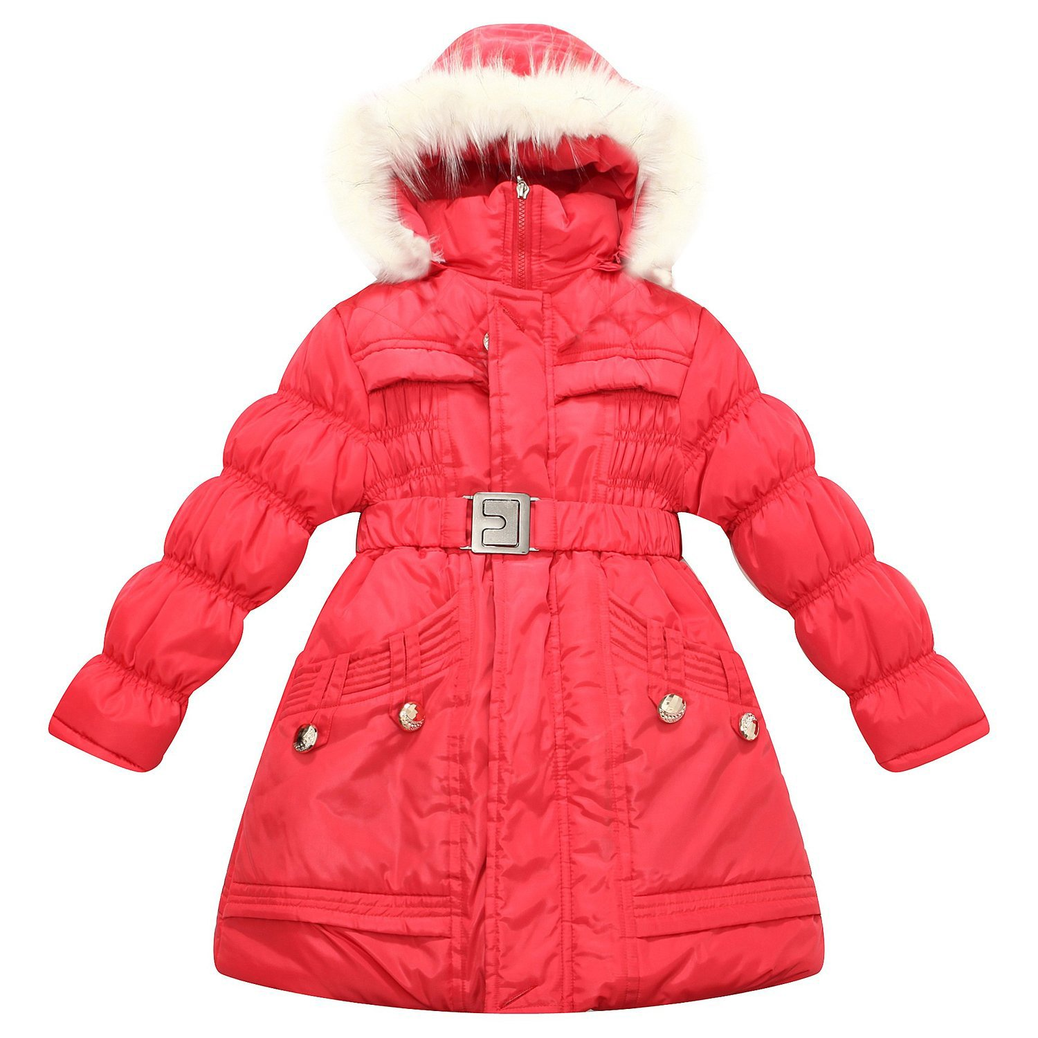 Richie House Girls' Padding Jacket with Hood and Fake Fur Lining RH1342