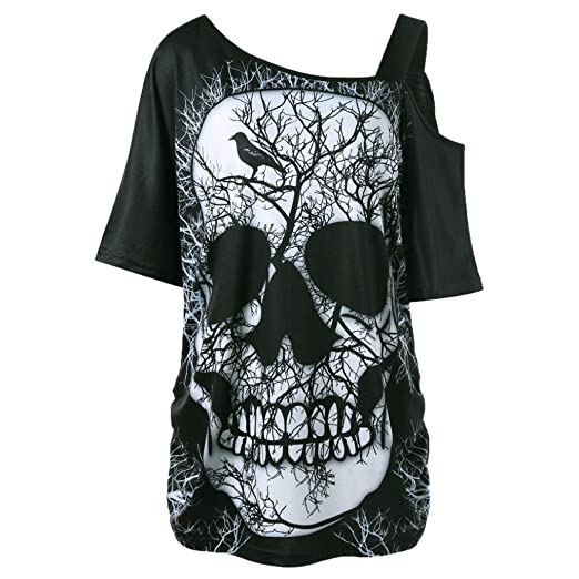 68dd5b12669 Ankola Women Blouse Ladies Sexy Skew Collar Skull Print Short Sleeve Loose  Casual Cute Pullover Soft T Shirt Tops at Amazon Women s Clothing store