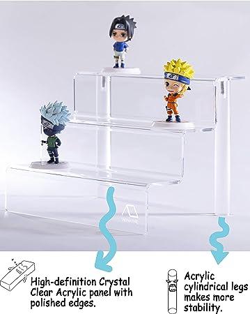 WINKINE - Estantería de 3 peldaños acrílico Transparente para Amiibo Funko Pop Figures, acrílico de 3 Niveles para decoración y Organizador: Amazon.es: Hogar