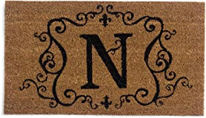 Evergreen 2RM014 Monogram Door Mat, Coir Insert, Letter N, 16-Inches x 28-Inches