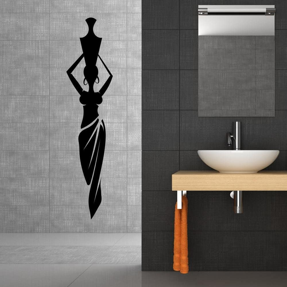 Style & Apply African Lady with Vase Wall Decal Wall Sticker, Vinyl Wall Art, Home Decor, Wall Mural - SA3082-4x16-Black