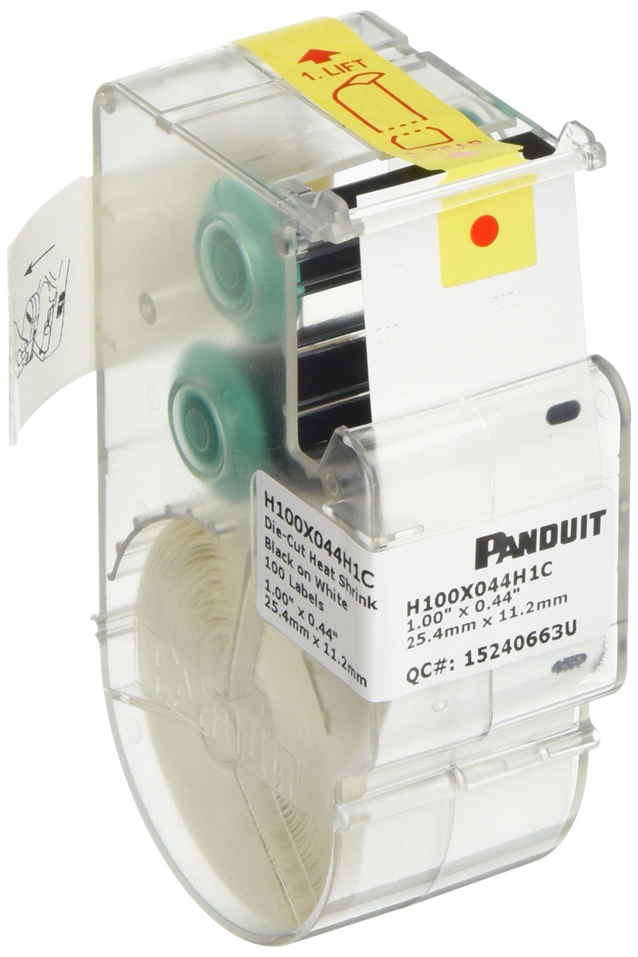 Panduit H100X044H1C P1 Cassette Heatshrink Tubing Lable, Polyolefin, White