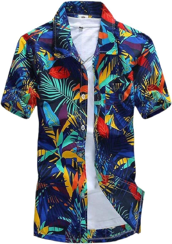 HTOOHTOOH Mens Button Down Hawaiian Short Sleeve Hawaiian Shirt Casual Shirt