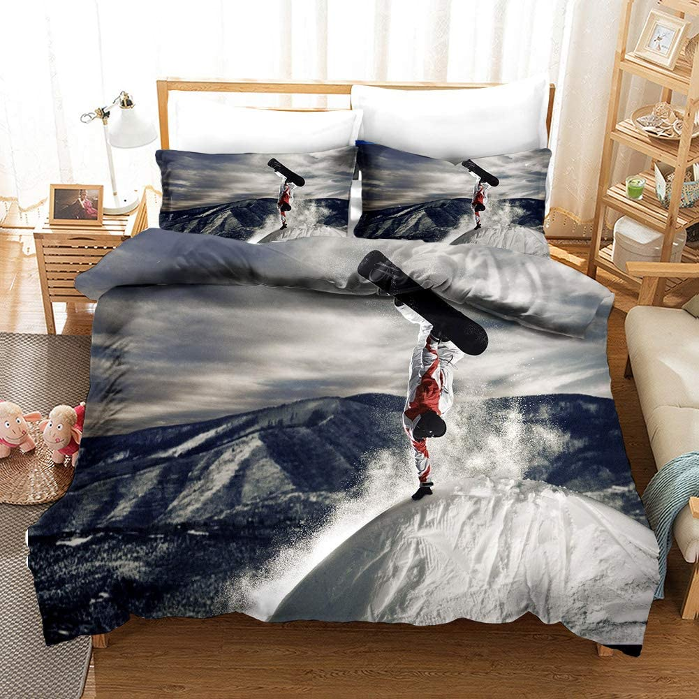 Feelyou Winter Duvet Cover Set Full Size for Boys Kids Teens Men Ski Slope Bedding Set Snowy Theme Comforter Cover with 2 Pillowcases Soft Microfiber Zipper Unique 3 Pcs Sports Youth Bedspread Cover