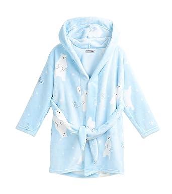 806cbd65682add Matt Viggo Kinder Fleece Bademantel mit Kapuze Mädchen Jungen Morgenmantel  Tier Muster, Blau, 100