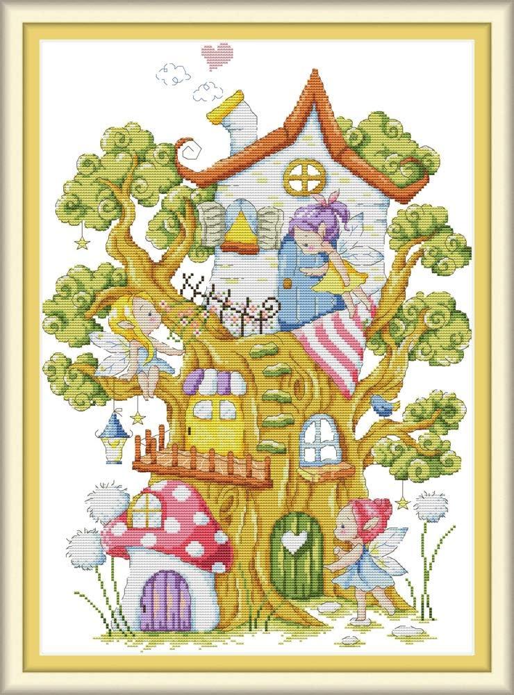 bambini e adulti Bianco 11CT CaptainCrafts kit per punto croce con motivo prestampato raffigurante la casetta sull/'albero degli elfi ideale per principianti