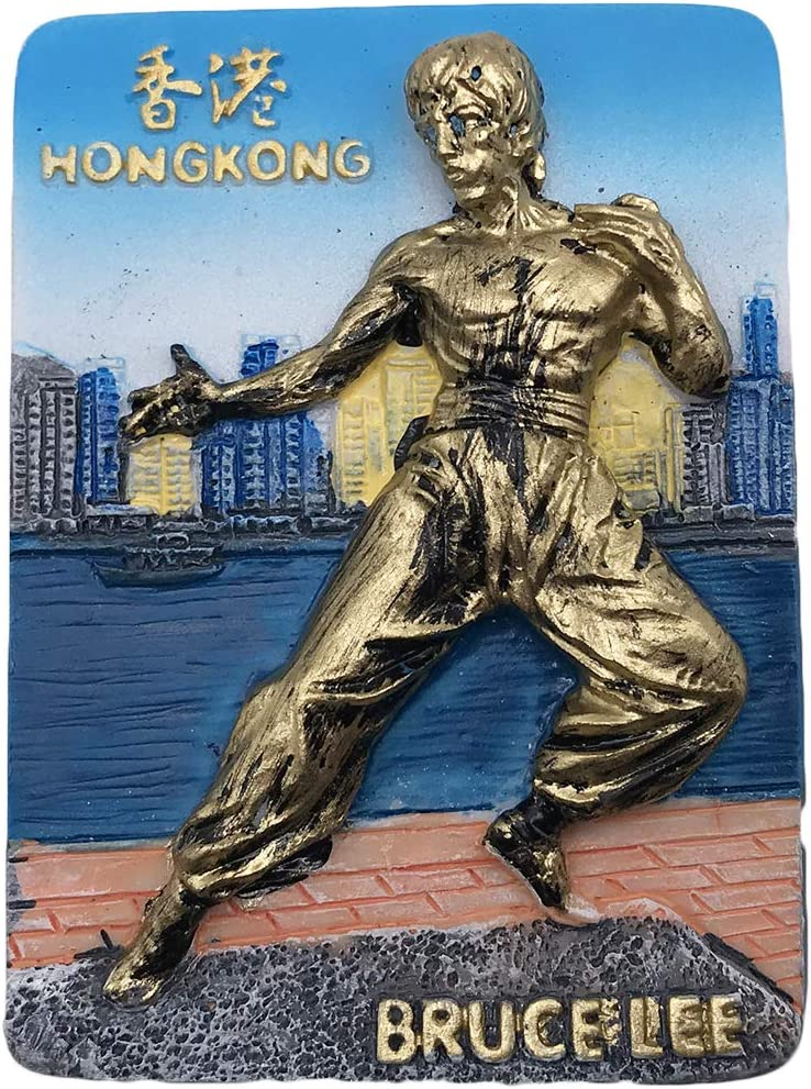 3D China HongKong Bruce Lee Refrigerator Fridge Magnet Tourist Souvenirs Resin Magnetic Stickers Home & Kitchen Decoration from Travel Gift