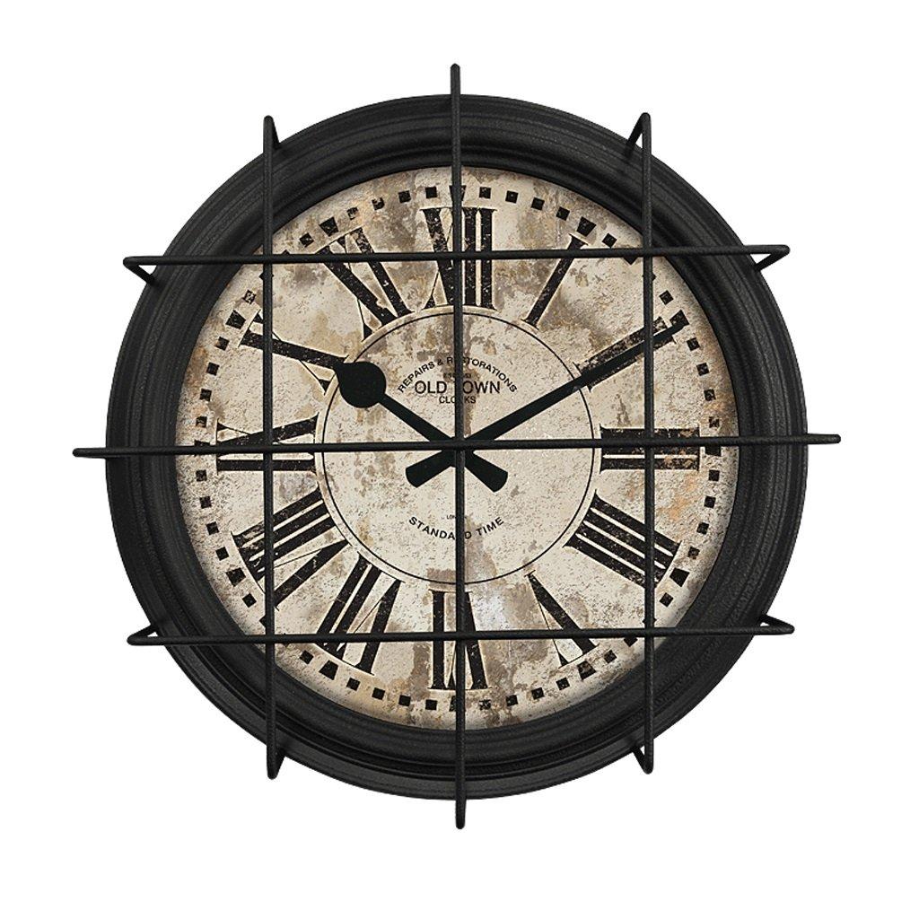 ウォールクロック アメリカンラージアイアンインダストリアル風の農場牧歌的な壁時計リビングルームファッションレトロレトロマイナークリエイティブメタル (色 : B) B07DJ3LCF6B