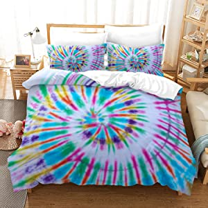 Colorful Rainbow Tie Dye Bedding Set Twin Size Spiral Tie Dyed Boho Hippie Chic Duvet Cover Sets for Girls Women 1 Duvet Cover + 1 Pillow Sham