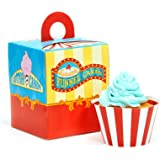 Carnival Games Party Supplies - Cupcake Wrapper & Box Kit