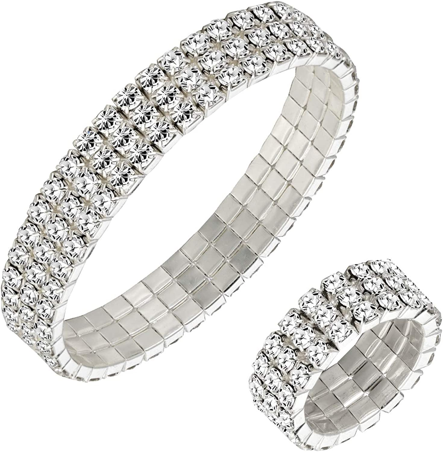 Diamante Pearls 3 Rows Stretch Elastic BRACELET White Charm Band Crystal Gift