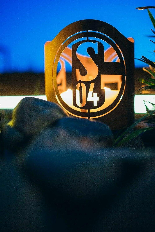 Durchmesser ca Ma/ße: H/öhe ca FC Schalke 04 S04 Edelrost Windlicht Metall Fanartikel Fu/ßball Feuerkorb 20,5 cm exkl Handarbeit 19 cm