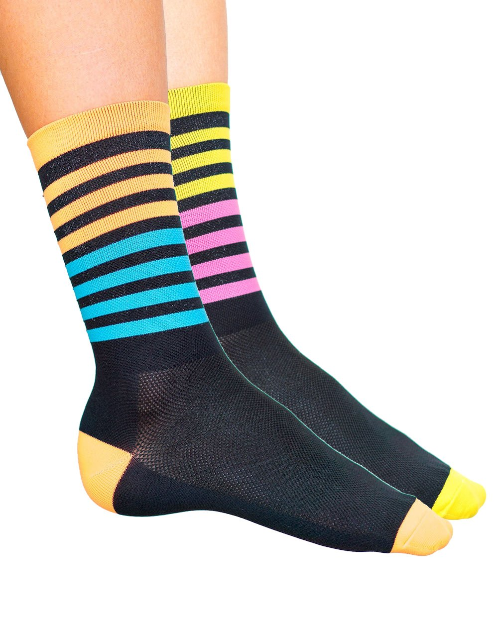 Cosmic Socks 6'' All Sorts, Cycling Socks size 6-11,Blue, Orange, Pink, Yellow, Black