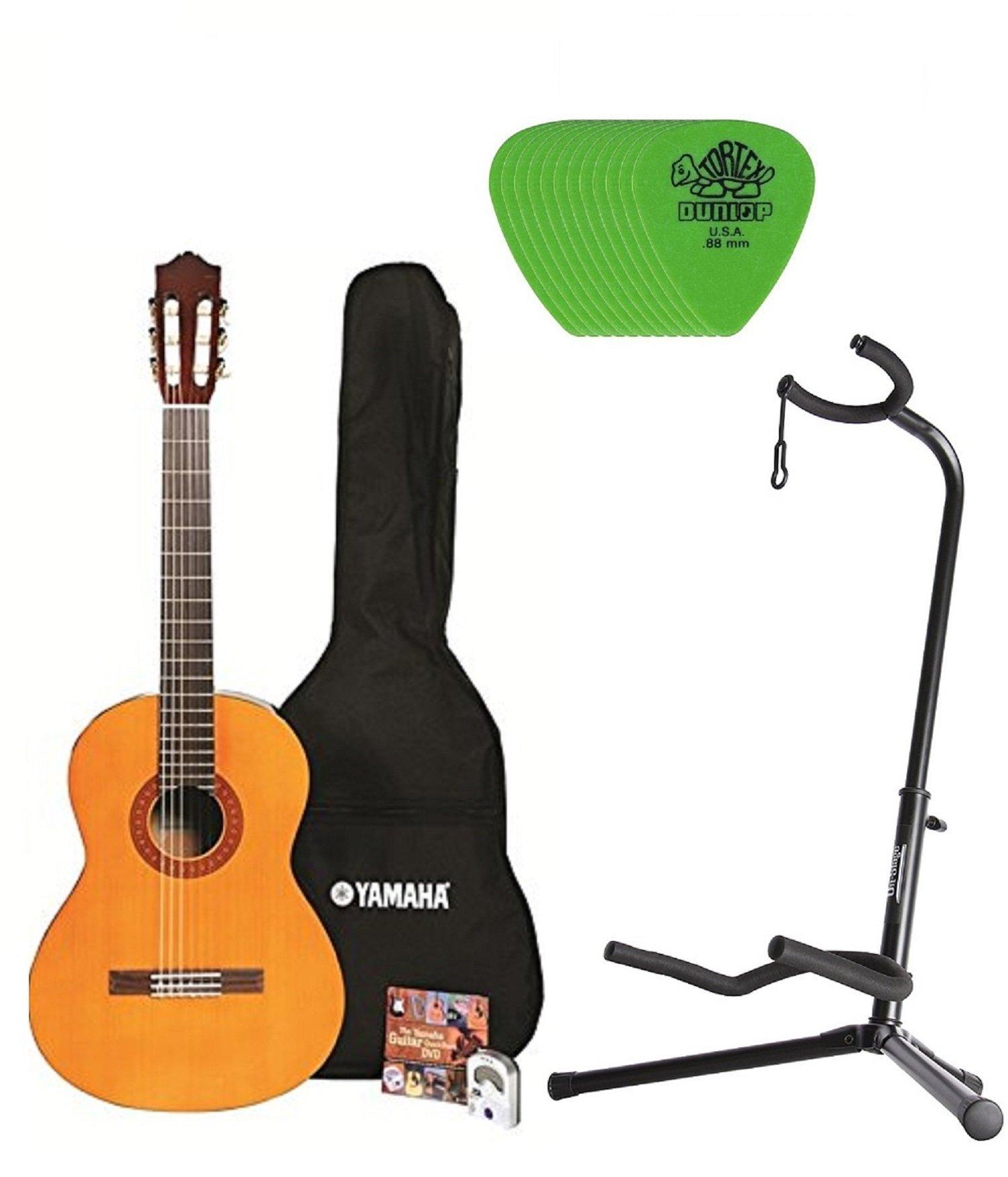 Yamaha C40 Nylon String Classic Guitar Bundle with Padded Bag, Digital Tuner, Stand ,Picks and Starter DVD by Yamaha