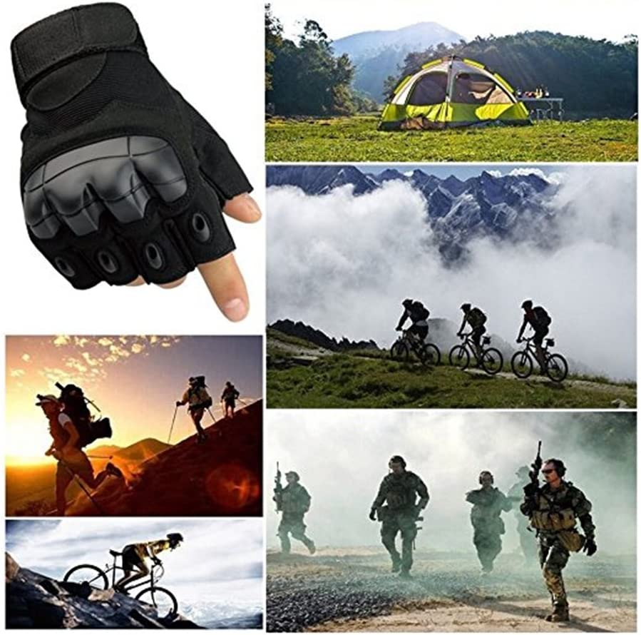 Military Hunting Cycling Paintball Fuyuanda Half Finger Outdoor Gloves Hard Knuckles Tactical Glove for Shooting Sporting Motorcycle Glove Black Large Driving Army Airsoft