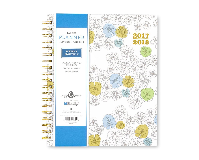 Ei Drücken für Blau Sky 2017–2018 Schuljahr Weekly & Monatsplaner, doppelte Ringbindung, 20,3 x 25,4 cm Blaume Jumble Hardcover