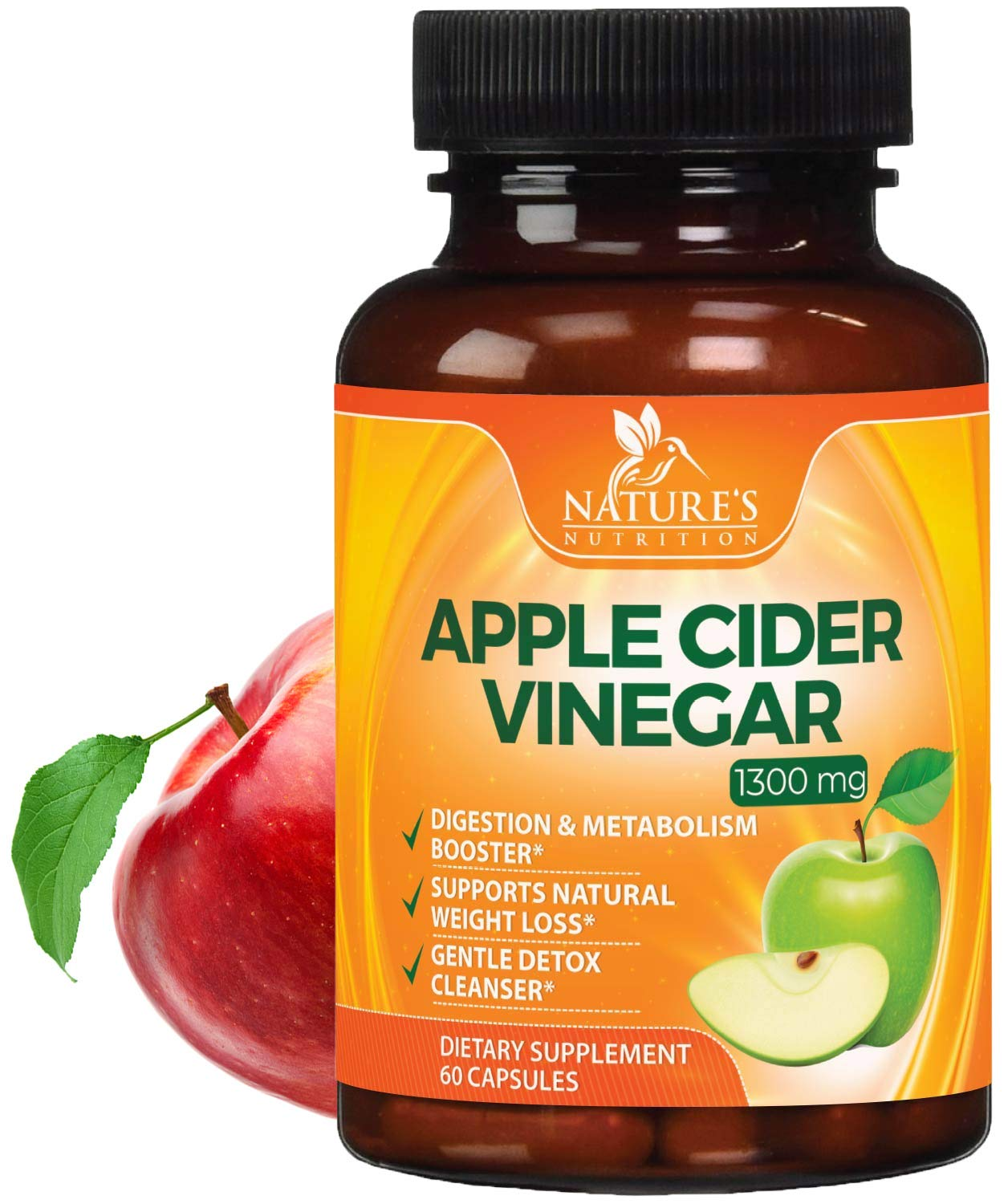 100% Natural Raw Apple Cider Vinegar Pills Highest Potency 1300mg - Weight Loss Appetite Suppressant, Made in USA, Best Vegan ACV, Metabolism Fat Burner & Detox Cleanse Supplement - 60 Capsules